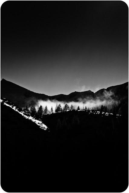 Alpejska zima. Drzewa zimą w Alpach. Fotografia krajobrazowa czarno-biała. fot. Łukasz Cyrus, Ruda Śląska