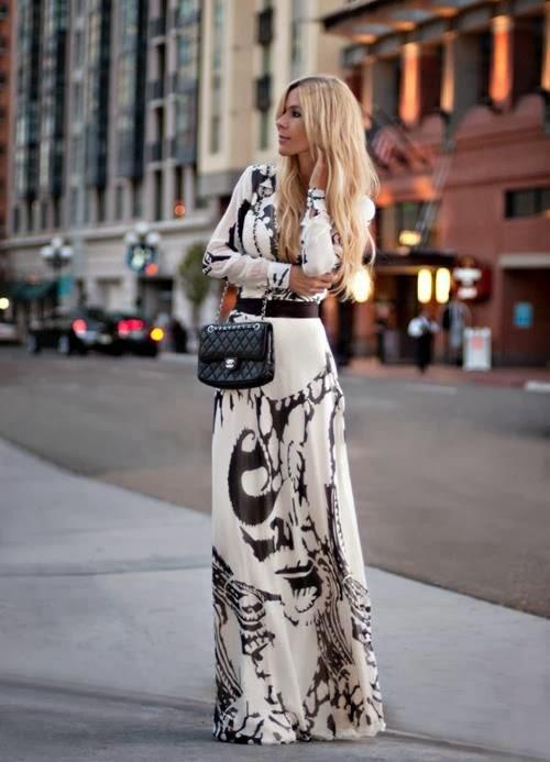 Black And White Printed Maxi Dress