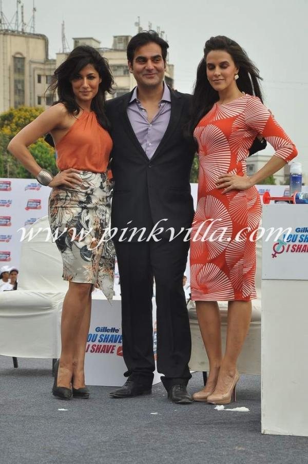 -  Chitrangada Singh, Neha Dhupia and Arbaaz Khan at Gillette Shave event