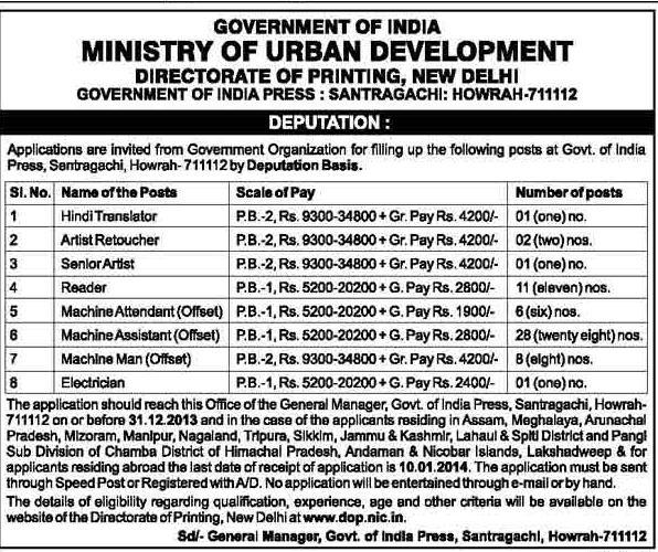 Government of India Press Recruitment 2013