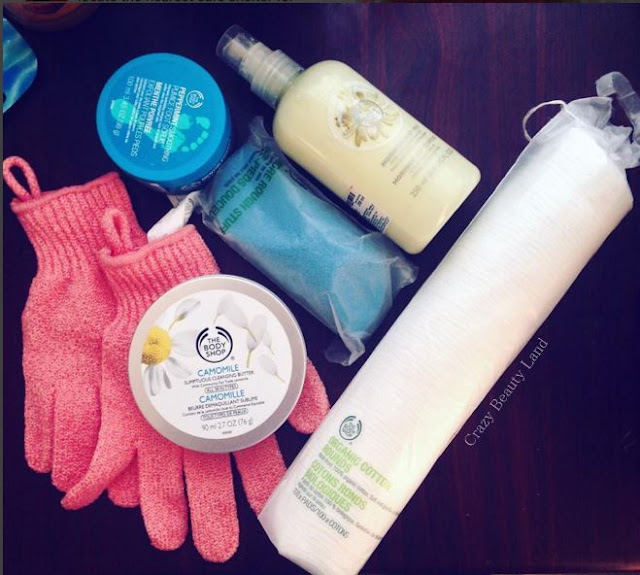 The Body Shop Bath Gloves Camomile Sumptuous Cleansing Butter Peppermint Soothing Foot Scrub Moringa Milk Body Lotion Organic Cotton Rounds