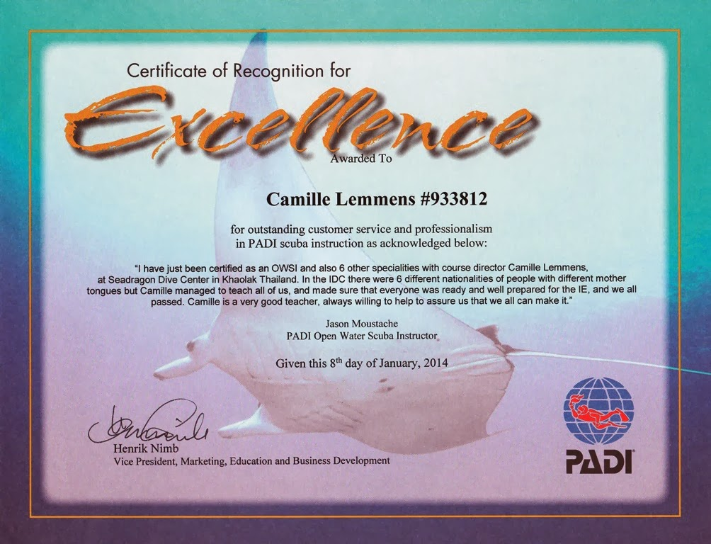 PADI Certificate of Recognition for Excellence from Jason Moustache