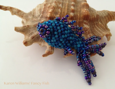 Stripey Fish,  blue and teal by Karen Williams