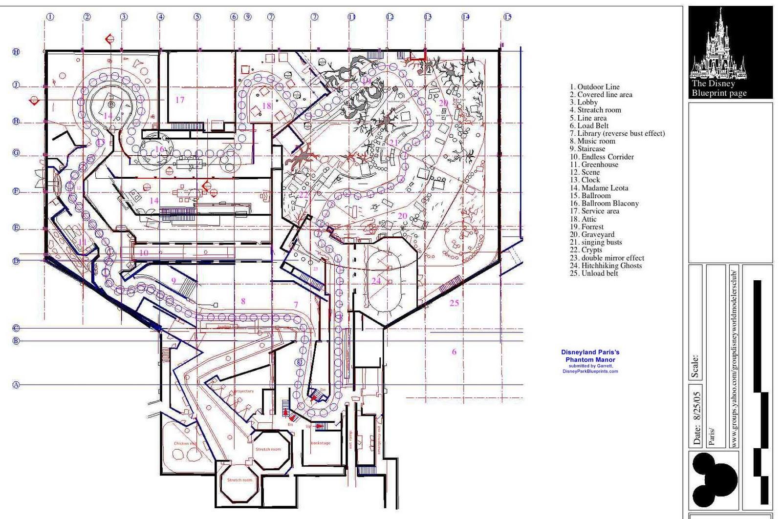 Disney Park Blueprints Phantom Manor Disneyland Paris
