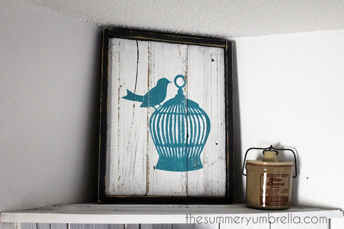 reclaimed wood birdcage sign