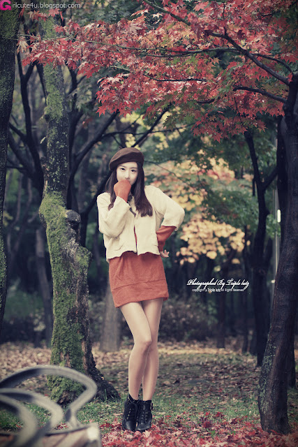 Park-Hyun-Sun-Autumn-Orange-Dress-02-very cute asian girl-girlcute4u.blogspot.com