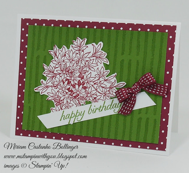 Miriam Castanho Bollinger, #mstampinwithyou, stampin up, demonstrator, ppa, birthday card, birthday blossoms stamp set, awesomely artistic, su