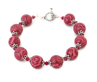 Burgundy Rose & Swarovski Bracelet handmade from polymer clay Valentine Gifts & Jewellery