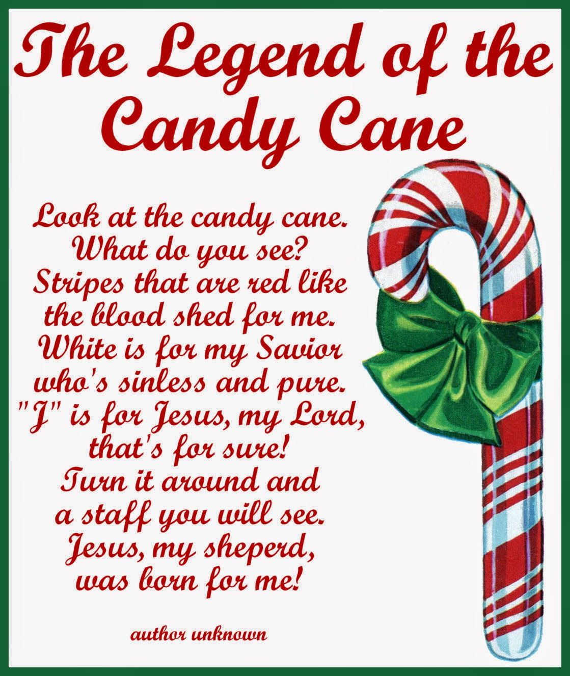 Enterprising image with the story of the candy cane printable