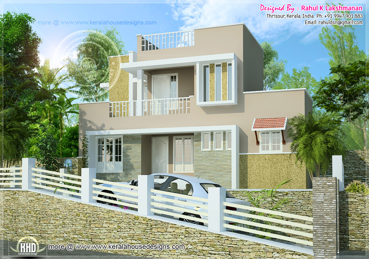 1300 hillside home design kerala home design and for Slope home design