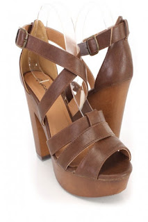 Light Brown Strappy Chunky High Heels Faux Leather