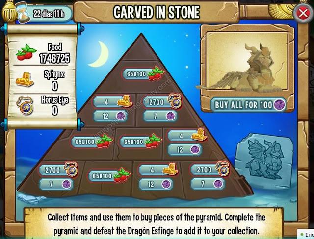 imagen de los objetos magicos de the caved in stone tallado en piedra de dragon city