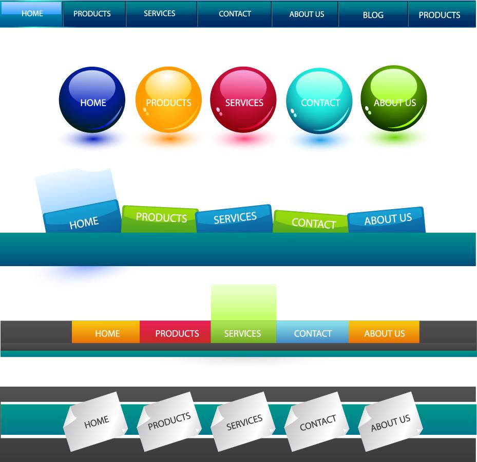 ナビゲーション ボタンと検索窓のデザイン見本 web navigation button to search box イラスト素材1