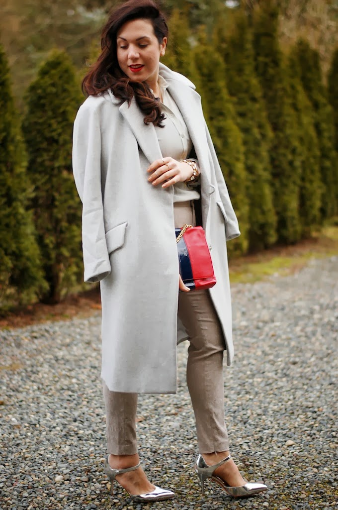 All grey outfit HM wool coat Zara jacquard pants Vancouver fashion blog Covet and Acquire