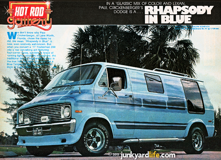 "1977 Tradesman 200 custom van known as ""Rhapsody in Blue."""