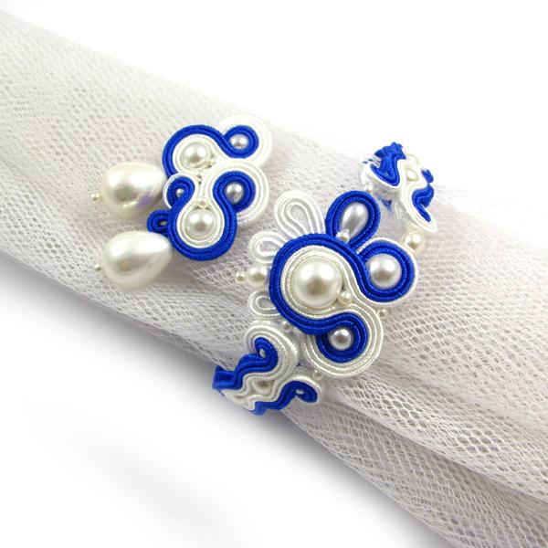 Soutache ślubny z perłami komplet biżuterii