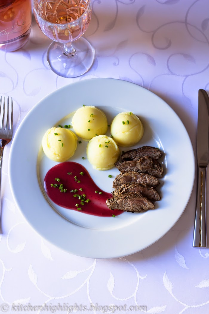 Tender beef sirloin served with a rich and velvety cranberry sauce is a beautiful option for a deliciously romantic dinner