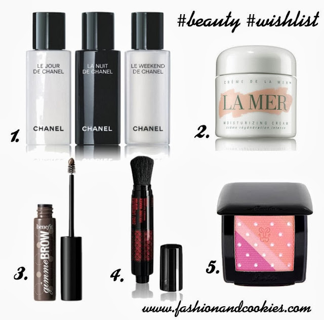 beauty wishlist on Fashion and Cookies, fashion blog, benefit gimme brow,  shu uemura volume maker, Le Weekend de Chanel