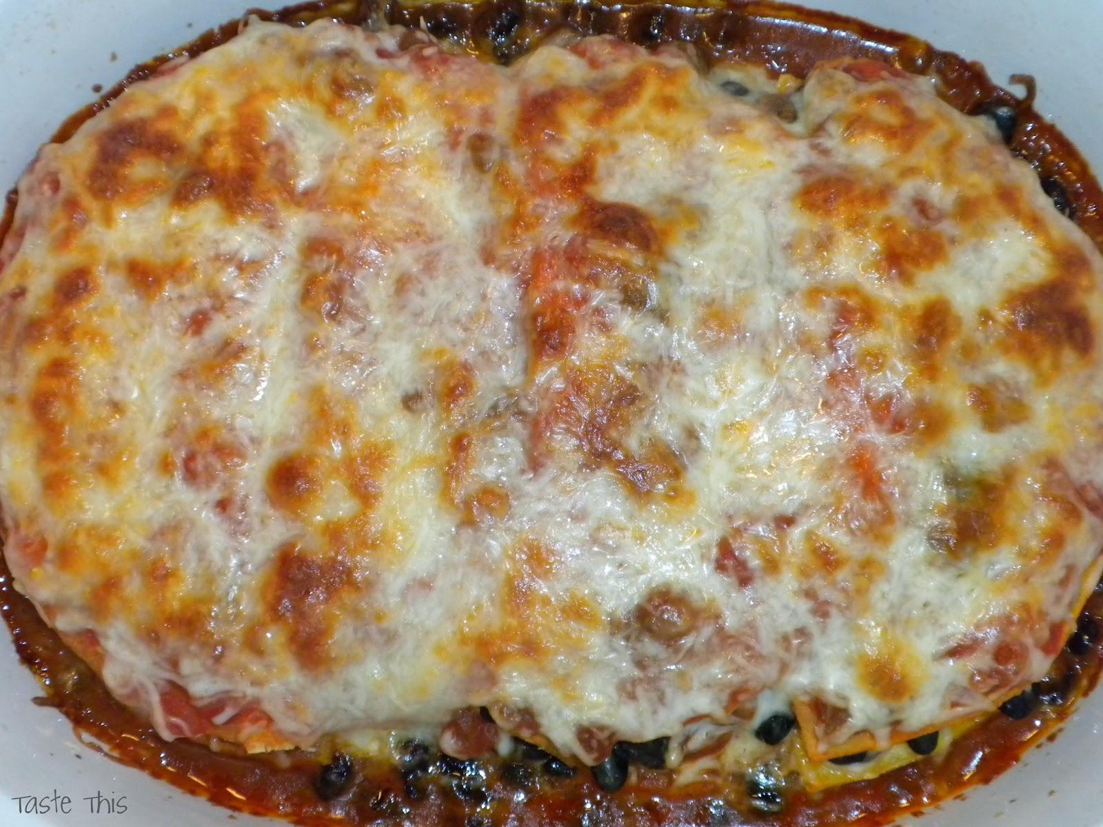 Taste This: Mushroom & Black Bean Tortilla Casserole