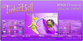 TinkerBell purpal C3 by ZayedBaloch Download Tema Nokia C3 Gratis