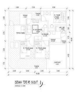 Denah Rumah Hook 10 x 10 meter