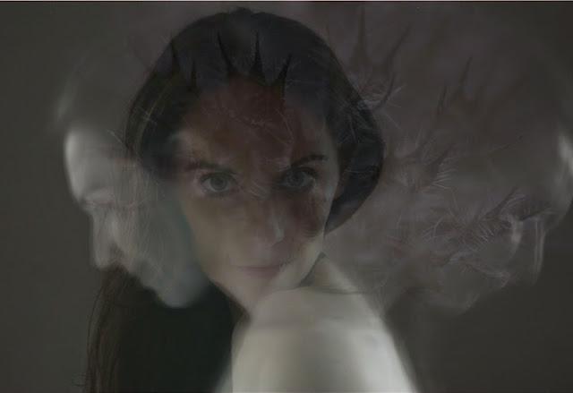photographie autoportrait Vanessa Lekpa portrait femme brune cheveux long féérique gothique noir et blanc