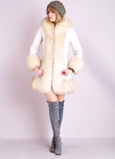 Vintage white Lilli Ann shearling princess coat with fluffy fur collar and cuffs