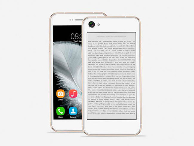 Oukitel U6, a clone of the iPhone 6 with an electronic ink rear display