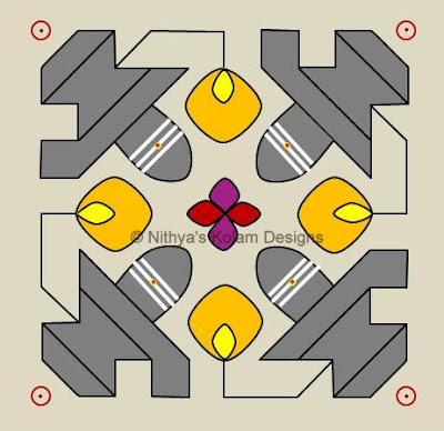 Siva Lingam Kolam  dots 11 x 11