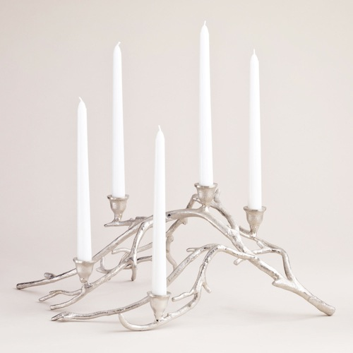 COST PLUS WORLD MARKET SILVER TWIGS TAPER CANDLE CENTERPIECE