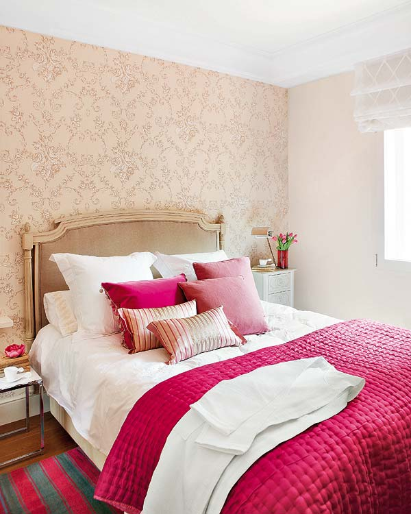 Mix and chic using color and textures to create feminine for Bright bedroom wallpaper