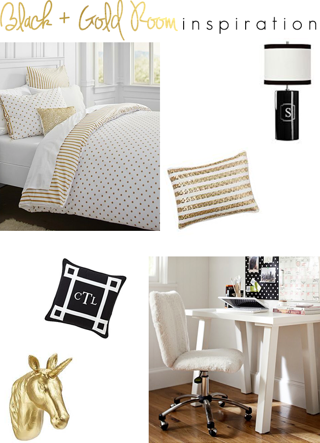 Decorating Ideas > The Southern Thing Black And Gold Room Inspiration ~ 183516_Gold Dorm Room Ideas