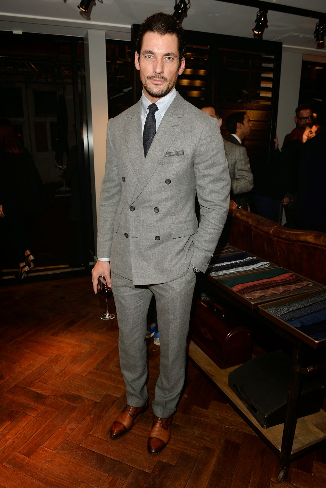 David Gandy, Matt Smith, Jamie Redknapp & Robert Konjic  Wore Thom Sweeney to attend the Opening Of The New Thom Sweeney Ready to Wear & Made to Measure Store on November 13, 2014 in London, England