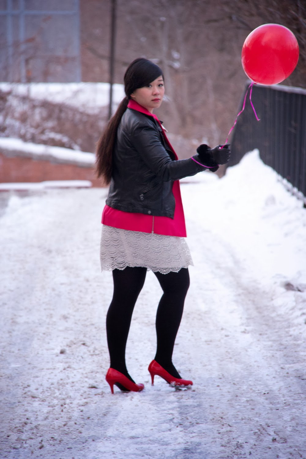 Leather-Jacket, Hot-Pink-Blazer, Lace-Skirt, Red-Shoes, Balloon