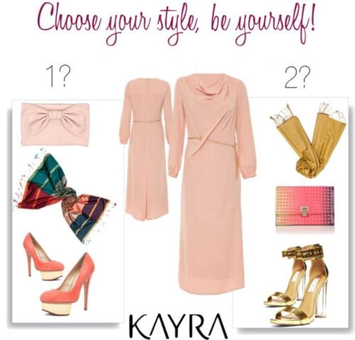Kayra pudra pembesi elbise kombin