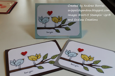 Love cards made with KB's Leaf Branch and KB's Birthday Bird stamps (from Endless Creations).