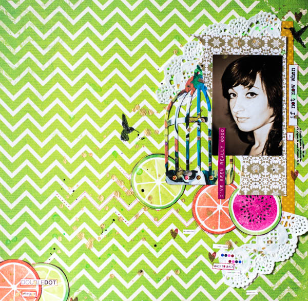 Green LO by Maria Potapovich using BoBunny Double Dot Cardstock & Doilies