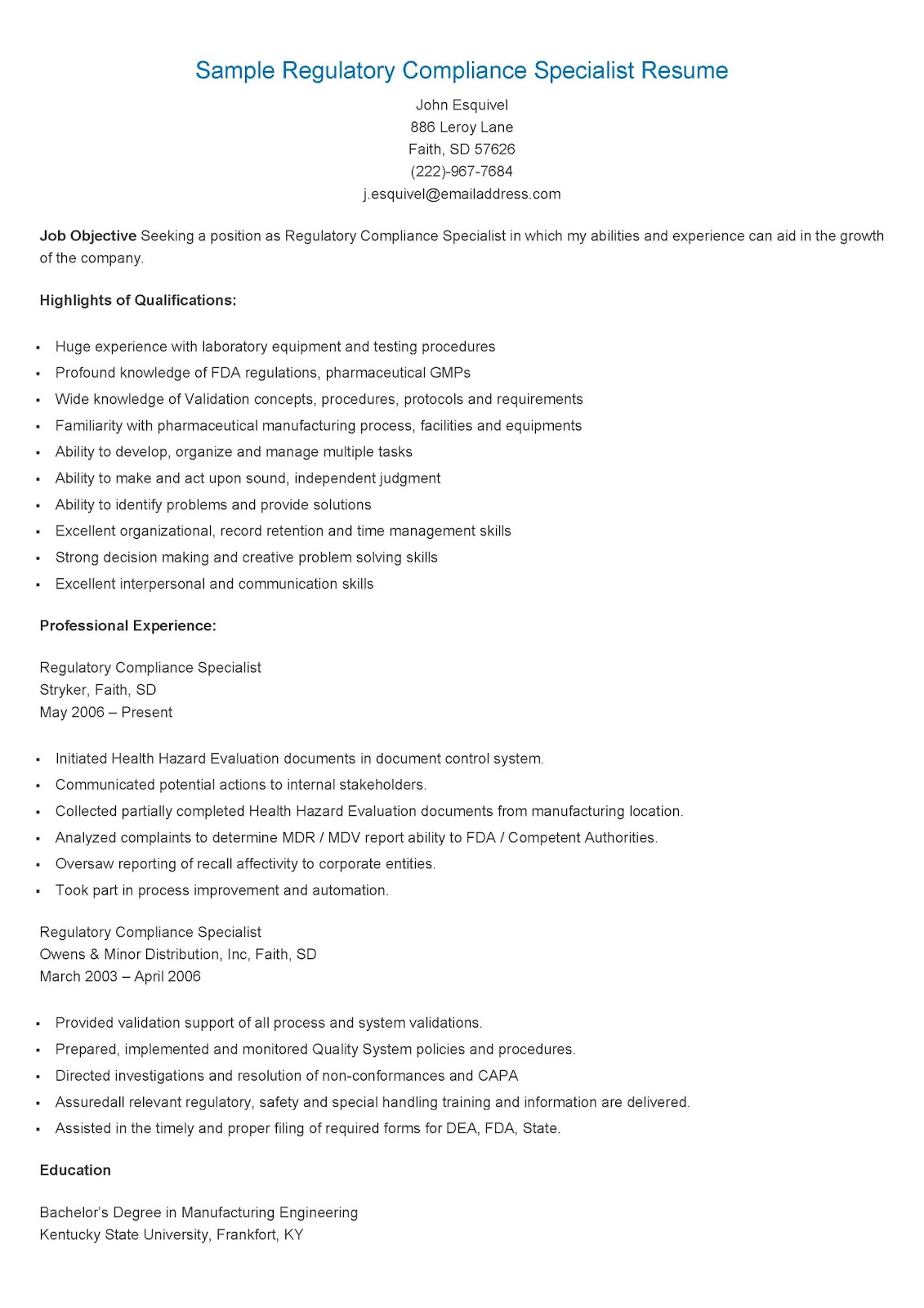 Resume Samples Sample Regulatory pliance Specialist Resume