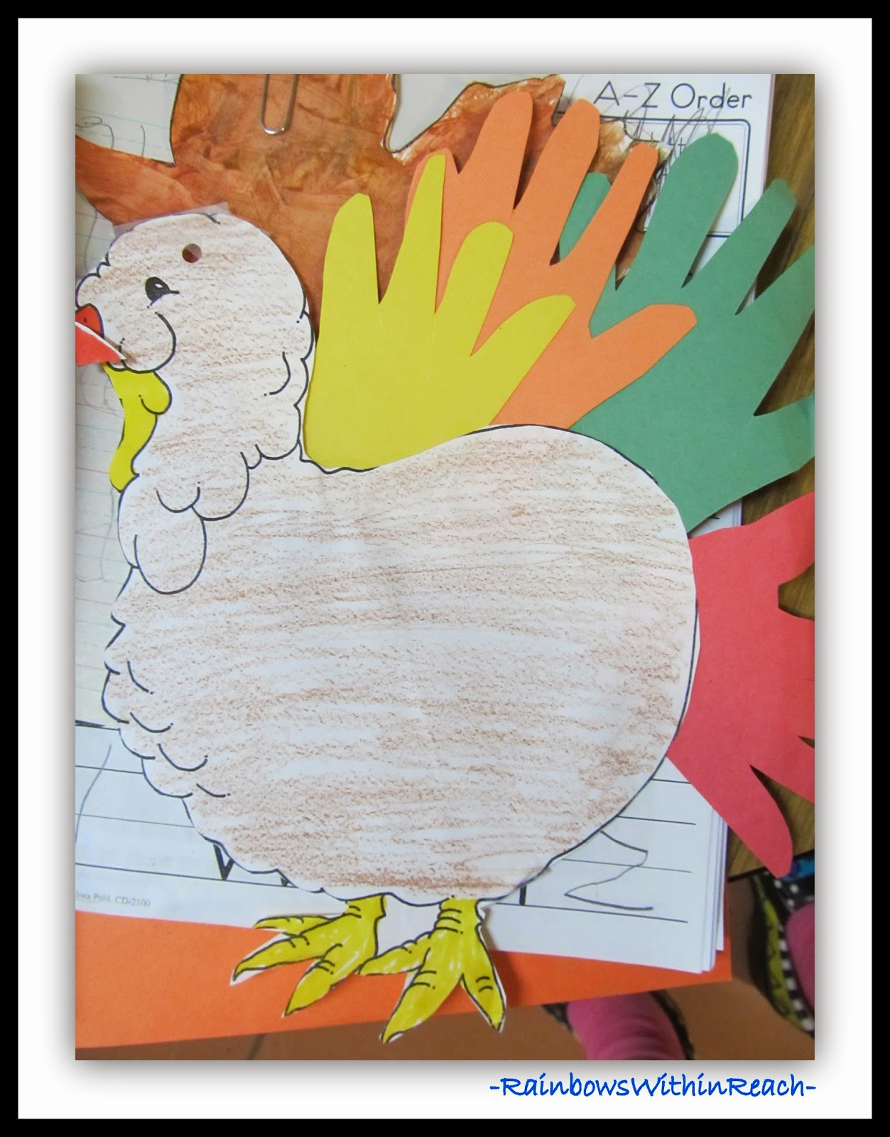 Turkey with Hand Prints for Feathers at RainbowsWithinReach