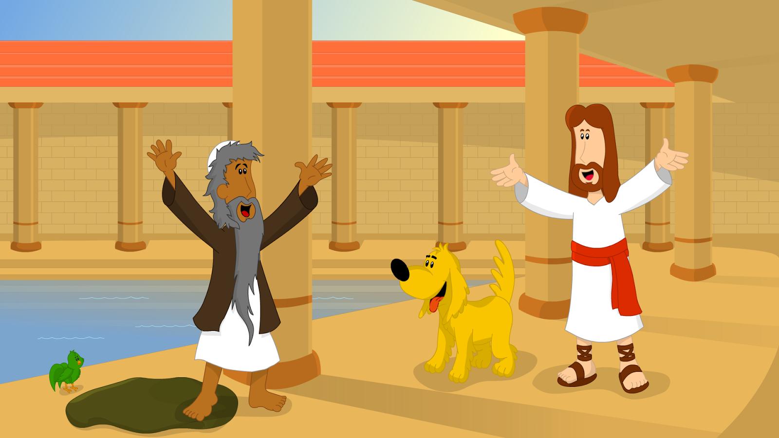 desenho animado os milagres de jesus no tanque de betesda pedro