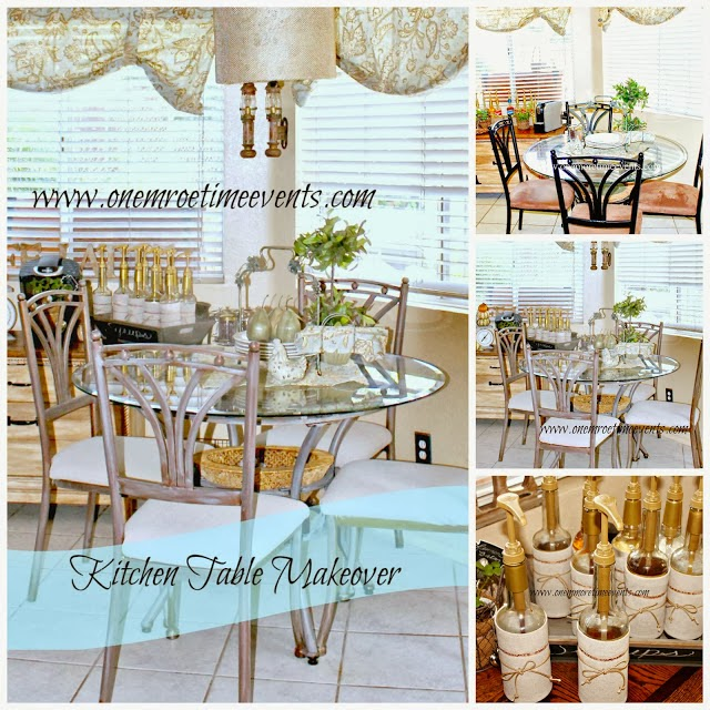 Kitchen table makeover at One More Time Evens.com