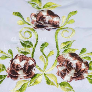 Telekung Vietnam bunga coklat-putih / daun hijau