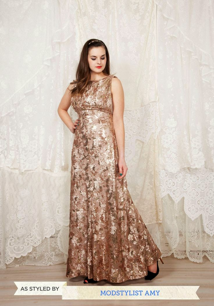 ModCloth The Sounds of Soul Dress: Affordable Wedding Dresses - Gold