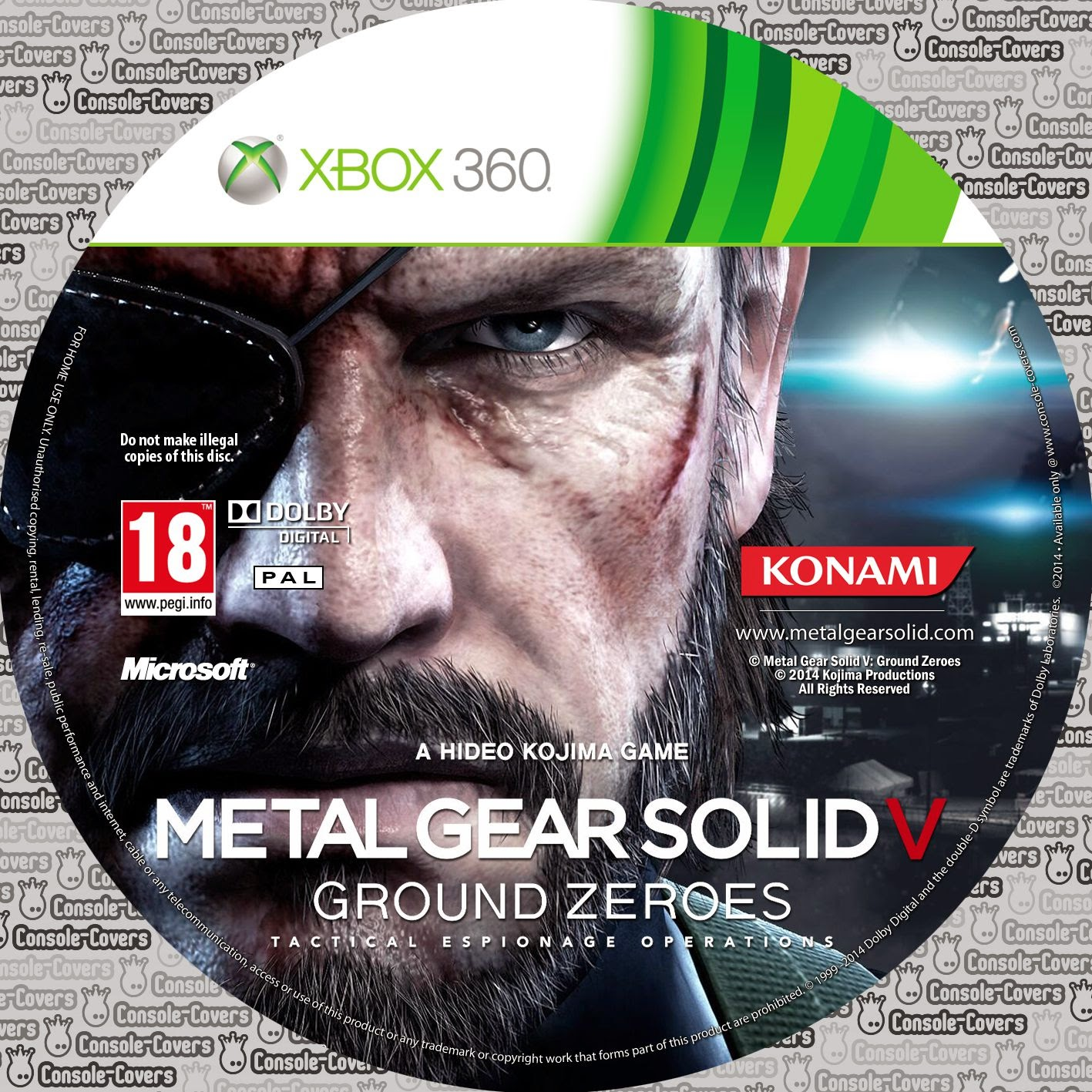 Label Metal Gear Solid V Ground Zeroes Xbox 360