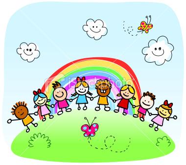 Cartoon Children Playing Outside