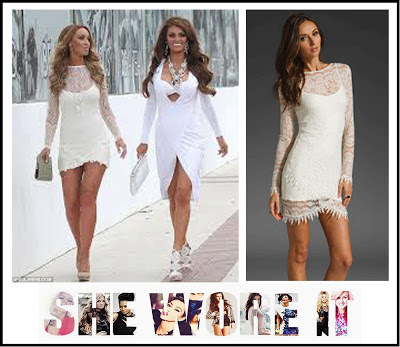 Cream, Crochet, Crochet detailing, Dress, Fitted, Lace, Lauren Pope, Long Sleeve, Mini Dress, Raw Edges, The Only Way Is Essex, TOWIE, White,