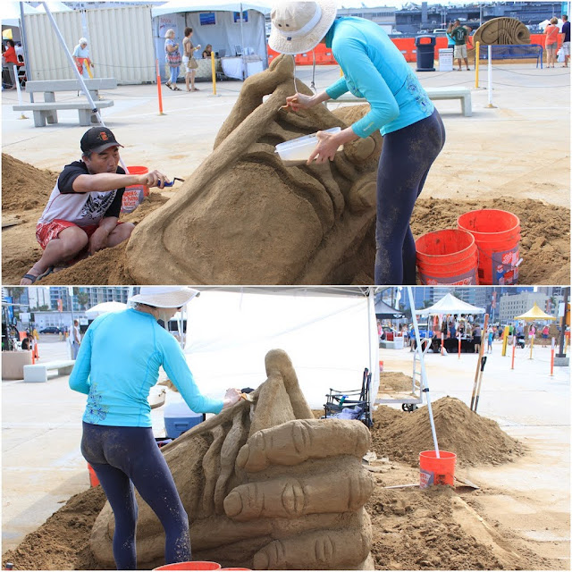 Amateur Sculptors are working hard to produce their model at the U.S. Sand Sculpting Challenge 2012 in San Diego, California, USA