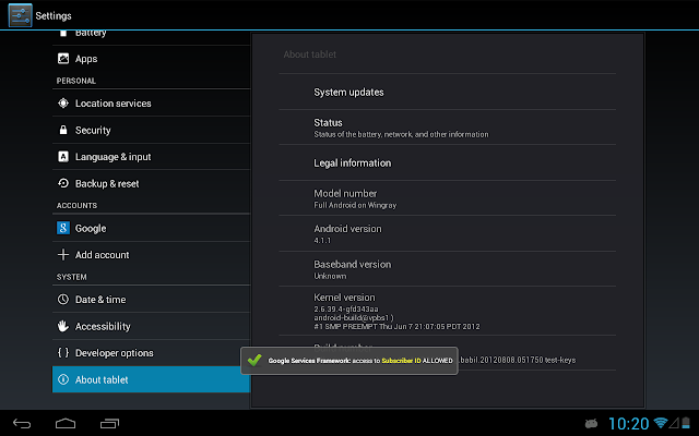 PDroid with Android Jelly Bean on Motorola Xoom Tablet (wingray)