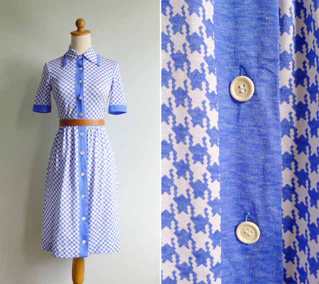 vintage blue white dogtooth dress