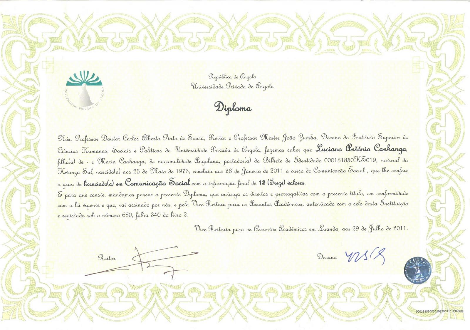 Diploma relacoes internacionais